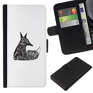 iBinBang / Flip Funda de Cuero Case Cover - Lobo salvaje Derechos de los Animales Cita Tatuaje - Sony Xperia Z4