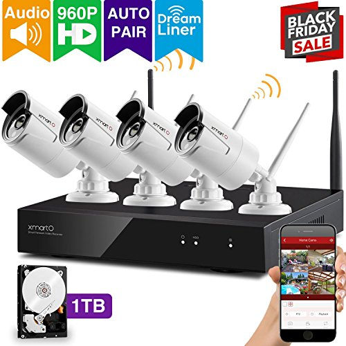 [Audio & Video] xmartO AUTO-PAIR 4CH 1080p HD Wireless Security Surveillance System with 4pcs 960p HD Outdoor WiFi IP Cameras and 1TB Hard Drive, Dream Liner WiFi Relay, NVR Built-in Router, 80ft IR by xmartO