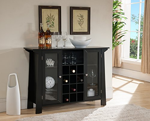 Kings Brand Furniture Matanuska Wood Buffet Bar Cabinet with Wine Storage, Black (Cabinet Glass With Doors Bar)
