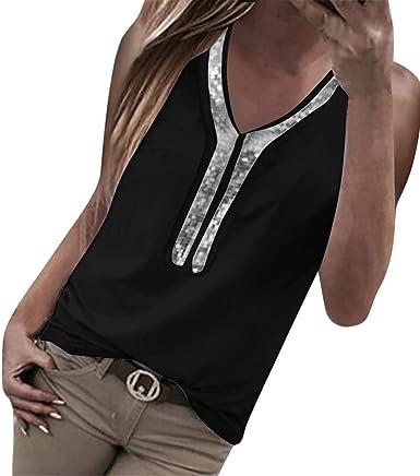 Tosonse Camiseta para Mujer Color Sólido Sin Mangas Tops Blusa Tanques Camisas Camiseta Redonda Túnica Jersey Trabajo: Amazon.es: Ropa y accesorios