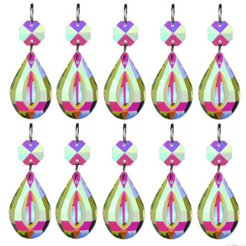 H&D 38mm Chandelier Prisms Loquat with Octagon Bead Glass Crystals Hanging Drops Pendants Replacement Parts (Color-10pcs) - Crystal Circle Shape Ornament