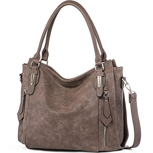 iYaffa Women Handbags Shoulder Crossbody Bags PU Leather Tote Bags for Women Medium Size Brown Grey by iYaffa