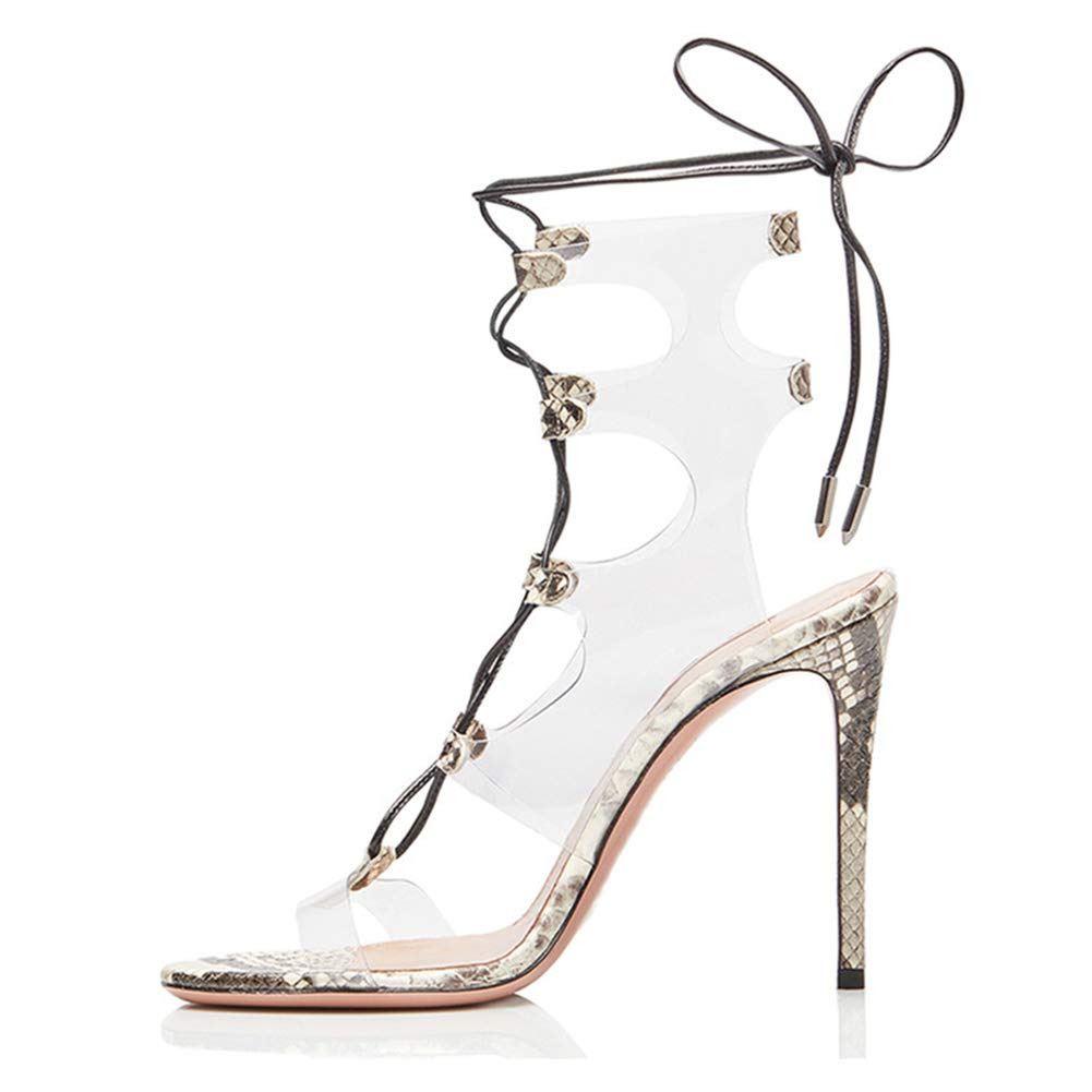 1 Women's Ladies Summer Heeled Sandals Stiletto High Heels Roman shoes Transparent Strappy Peep Open Toe Ankle Straps Dress Party Black Size EU 35-46