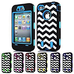 ZXC 3-in-1 Design Raised Grain Pattern Hard Case with Silicone Inside Cover for iPhone4/4S (Assorted Colors) , Orange