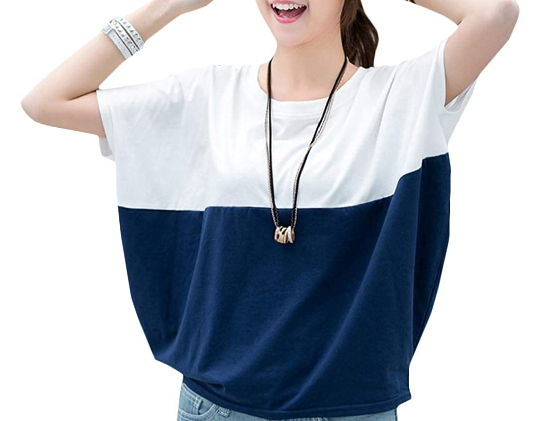 534ba54beb5a3 Adriat Women s Short Sleeve Summer Color Block O-Neck Modern Tops T-Shirt  at Amazon Women s Clothing store