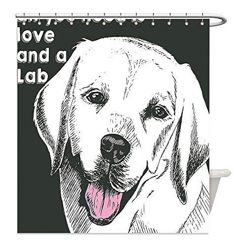 Liguo88 Custom Waterproof Bathroom Shower Curtain Polyester Animal Cute Labrador Dog Vintage Seemed Image with Love Themed Quote Artwork Olive Green and White Decorative bathroom - Olive Costume Quote