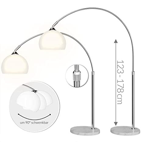 Stehlampe Bogenlampe LATE LOUNGE weiß Marmor Lounge Design Lampe Leuchte NEU