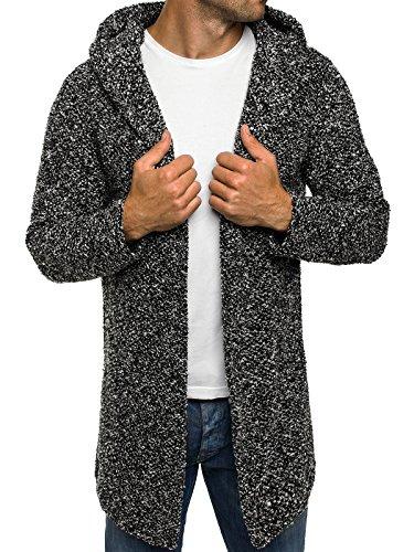 OZONEE Herren Strickjacke Kapuzenpullover Hoodie Sweatshirt MADMEXT 1598 M SCHWARZ