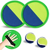 Velcro Paddle Toss and Catch Ball Set-2 Rackets 2 Balls Upgraded Version Paddle Catch Games Outdoor Beach Toy for Boys Girls Kids