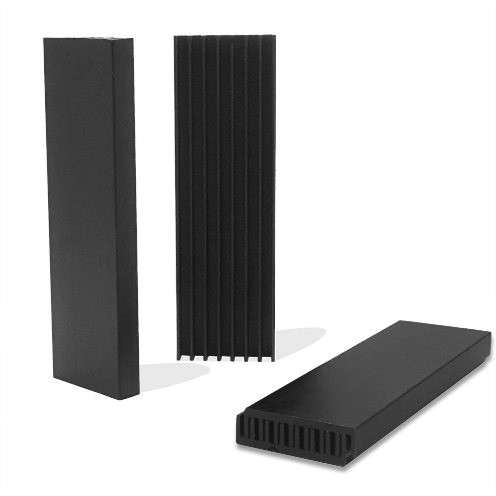 Akuoly Aluminum Heatsink 4 Pack Cooler Cooling Fin with Thermal Adhesive Tape for SSD RAM PC 70x22x6mm Black