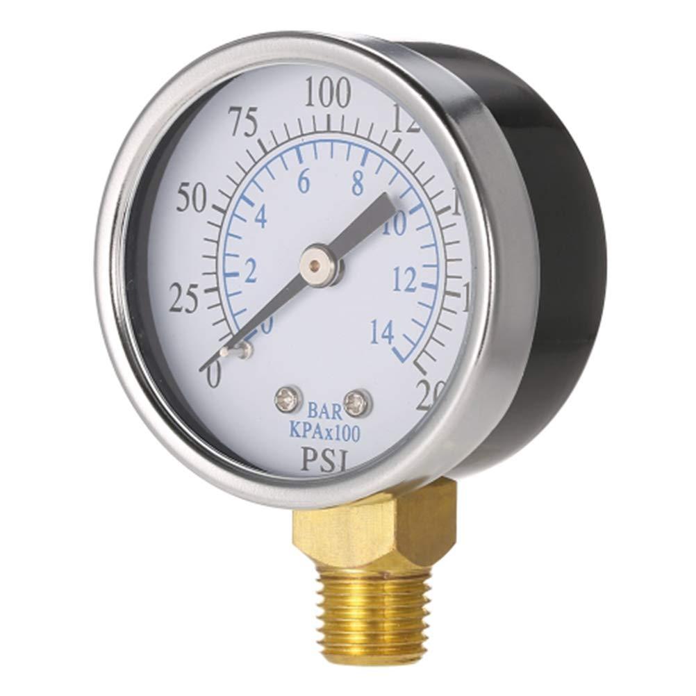 Hemobllo Manom/ètre de pression dair comprim/é pour compresseur 0-200 psi 0-14 bars Manom/ètre de pression NPT