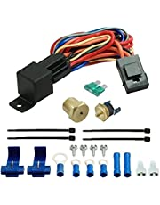 American Volt 12V Electric Radiator Coolant Cooling Fan Thermostat Wiring Relay Switch Sender Temperature Sensor Kit Universal Automotive Car Truck