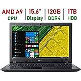 2018 Acer Aspire High Performance 15.6-inch HD Laptop, AMD A9-9420 Processor up to 3.6GHz, 12GB DDR4 RAM, 1TB HDD, AMD Radeon R5 Graphics, HDMI, 802.11ac, Bluetooth, Webcam, USB3.0, Windows 10