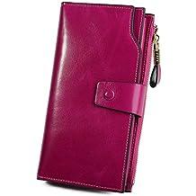 Yaluxe Women's Large Capacity Luxury Wax Genuine Leather Wallet With Zipper Pocket Pink