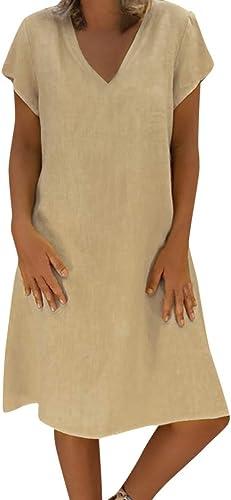 Women Summer Linen Dress,Lkoezi Lady Style Feminino T-shirt Dress Cotton Casual Plus Size Dress Loose Knee Dress
