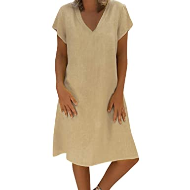 17ec3ba54a6 Womens Summer Casual Loose V-Neck T-shirt Dress Vintage Cotton Linen Tunic  Dresses Plus Size S-5XL  Clothing