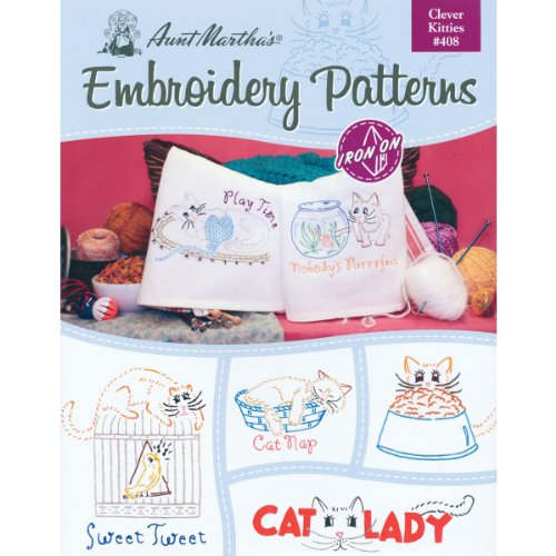 Kitty Iron - Aunt Martha's Clever Kitties Embroidery Transfer Pattern Book Kit