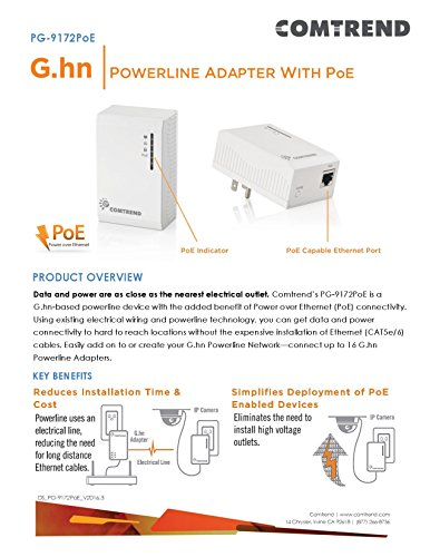 Comtrend G.hn 1200 Mbps Powerline Ethernet Bridge Adapter with Power Over Ethernet POE PG-9172PoE Single Unit (2-Units Required) by Comtrend (Image #3)