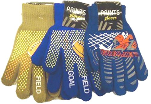 Set of Three Magic Stretch Microfiber Lined One Size Athletic Gloves for Teens by Jolly