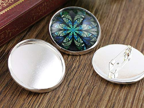 (Laliva New Arrive 10pcs/lot 25mm 5 Colors Plated Brooch Style Cameo Settings Cabochon Base Brass Copper Blank Tray - (Color: Silver))