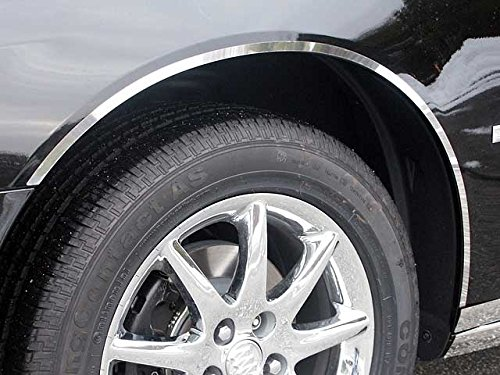 (QAA FITS LUCERNE 2006-2011 BUICK (4 Pc: Stainless Steel Wheel Well Accent Trim w/3M Adhesive, NO Black Rubber Gasket - 1/2