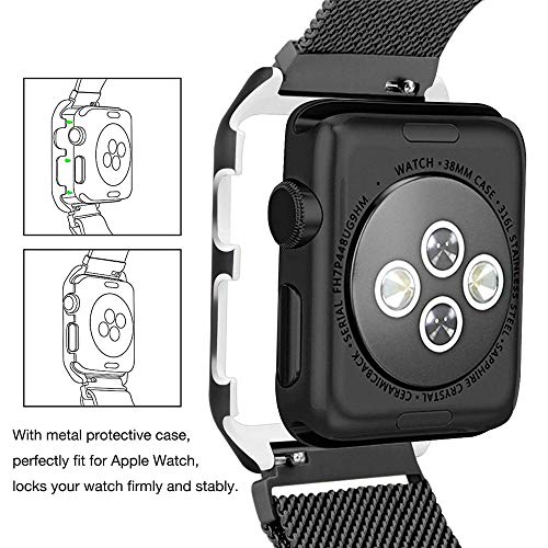 XBKPLO Compatible for Apple Watch Series 4 Band 42mm 44mm Stainless Steel Magnetic Button Replacement Watch Strap Series Cuff Bracelet
