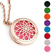 EVERLEAD Stainless Steel Convex Round Essential Oils Diffuser Magnetic Locket / Carving Aromatherapy Pendant Necklace