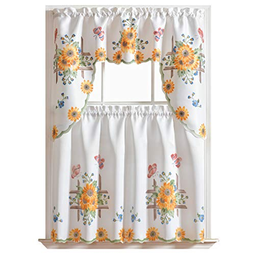 (GOHD Golden Ocean Home Decor 3pcs Kitchen Cafe Curtain Set Air Brushed by Hand of Sunflower and Butterfly Design on Thick Satin Fabric (Swag and 36 inches Tiers Set))