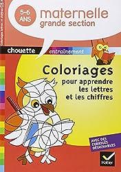 Chouette - Coloriages magiques lettres et chiffres Grande Section