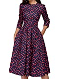 Women's 50s Floral Cocktail Vintage Retro Dresses Elegant Midi Evening Dress 3/4 Sleeves (Color : Red, Size : M)
