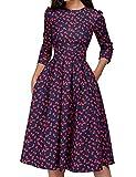 Women's 50s Floral Cocktail Vintage Retro Dresses Elegant Midi Evening Dress 3/4 Sleeves (Color : Red, Size : M)