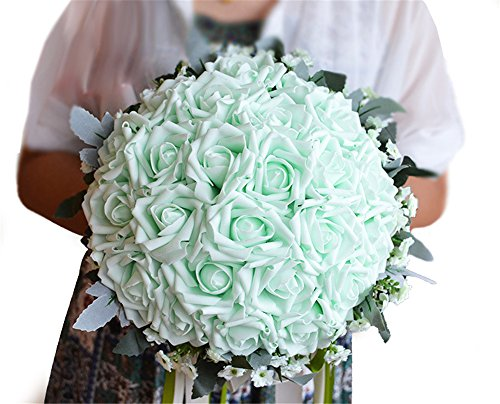 - KUKI SHOP Handmade Romantic PE Roses w/ Green Leaves Wedding Bouquet Free Matching Wrist Corsage Bridal Holding Bouquet Bridal Throw Bouquet Bridesmaid Bouquet Wedding Decoration Flowers (Mint)
