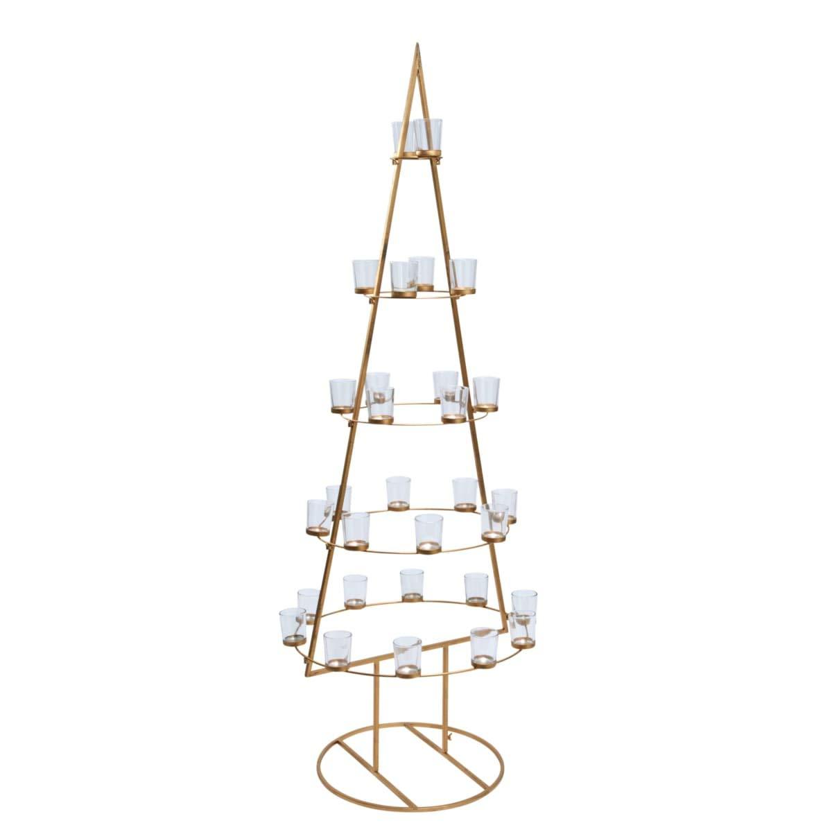 Weihnachtsdeko Globus.Purotay Weihnachtsbaum Golden Tree Kerzenhalter Metall Gold