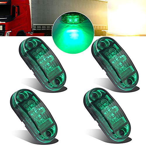 4pcs 12-24V Green Side marker Lights Indicator of Position Lamp Front Rear Side Light 6000K Waterproof Universal for Car Trailer Truck Caravan Van Lorry Motorcycle: