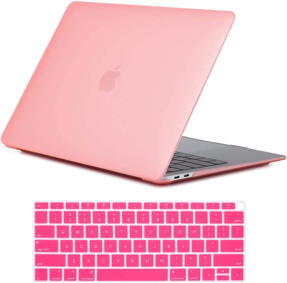 Se7enline New MacBook Air 2020 case 13 Inch Matte Frosted Plastic Hard Shell Laptop Case Cover for MacBook Air 13-Inch Retina Display with Touch ID A1932/A2179 with Keyboard Cover 2018/2019/2020, Pink