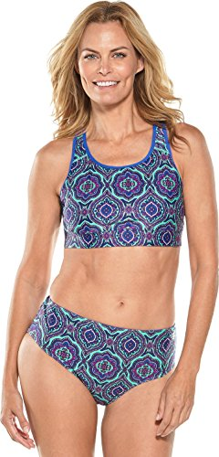 Coolibar UPF 50+ Women's Swim Bra - Sun Protective (Large- Tropical Mint Beach - Sports Bra Womens Swim
