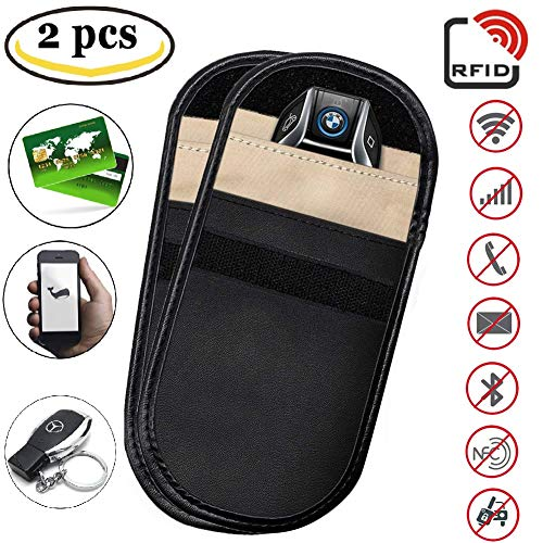 Signal Blocker Case - Car Key Fob Signal Blocking Pouch Bag, Keyless Entry Remote RFID Faraday Cage Car Key Protector Pouch WiFi/GSM/LTE/NFC/RF Blocker (2 Pack) by Meethome