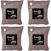 4-Pack 200g Naturally Activated Bamboo Charcoal Air Freshener Bags. Deodorizer. Odor Neutralizer for Car Freshener, Moisture Absorber, Closets, Bathrooms, and more! 100% Chemical-Free Odor Eliminator