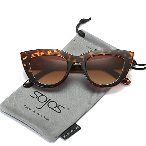 SojoS Retro Vintage Cateye Sunglasses for Women Plastic Frame Mirrored Lens SJ2939 With Tortoise Frame/Brown - Eye Tortoise Sunglasses Cat