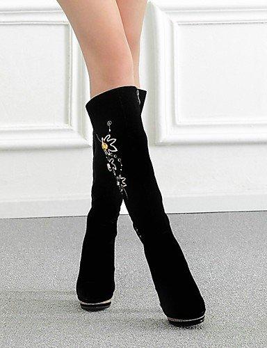 Casual 7 5 us8 La Redonda Mujer 5 Uk6 Eu37 Black Zapatos Cn39 Eu39 Tacón Punta 5 Vellón Negro Robusto Xzz Botas Uk4 Plataforma A Vestido Black Cn37 Moda us6 De wOxTfA