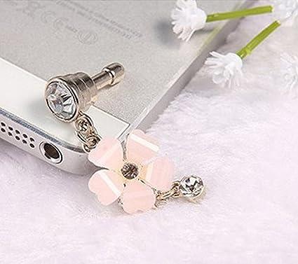 Westeng Bouchon De Protection Anti-poussi/ère pour T/él/éphone Prise Ecouteur 3.5mm Fleur De 5 Feuilles