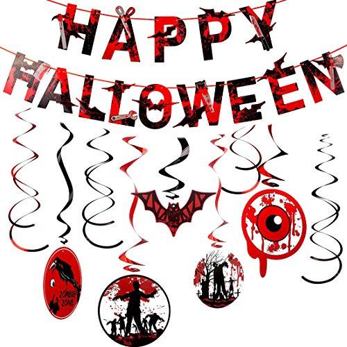 Vampire Halloween Party Decorations (Happy Halloween Banners, Halloween Party Supplies Bloody Theme Decoration Kit for Zombie Vampire)