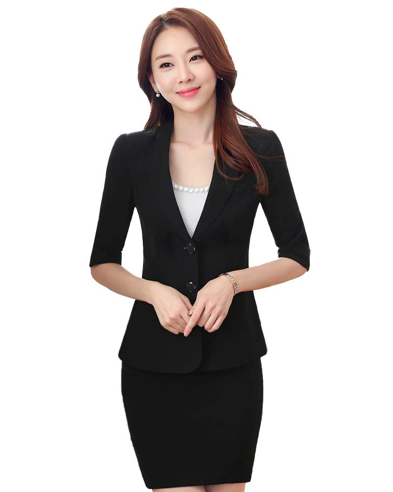 LISUEYNE Women 2 Pieces Office Lady Blazer Skirt Double Button Slim Fit Women Business Suit