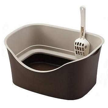 Wcx Caja de Arena Segura para Mascotas Bandeja de Arena para Gatos de Borde Alto para Inodoro higiénico (Color : Brown): Amazon.es: Productos para mascotas