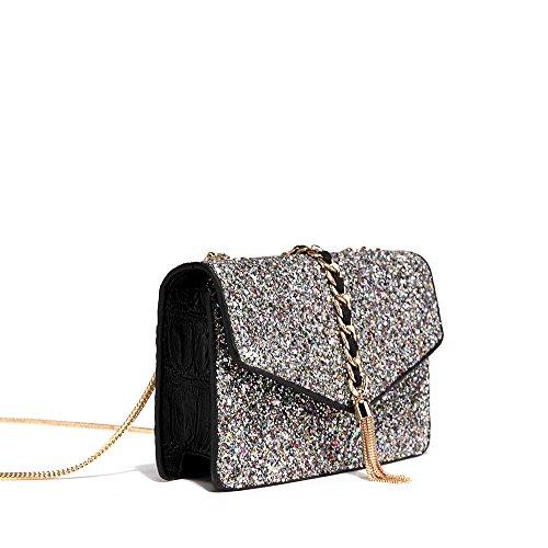 Bling Cross Handbag Body Bag Shoulder Sequin Shiny Bag PeMe Silver Chain Tassels qdtax6wnq