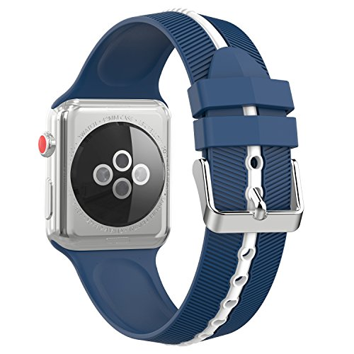 Dual Arrow (MoKo Band for Apple Watch 42mm Series 3 Bands, Soft Silicone Arrow-shaped Double Color Replacement Strap for iWatch 42mm series 3/2/1, Midnight Blue + White (Not fit 38mm Versions))