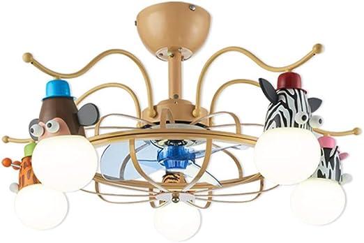 RZZX Ventilador de techo giratorio infantil nórdico Techo LED ...