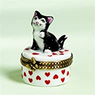 Authentic French Hand Painted Limoges Porcelain Black Cat on Red Hearts Box