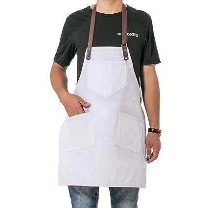 QEES Delantal de Cocina de Lona para Chef, Blanco Ajustable ...