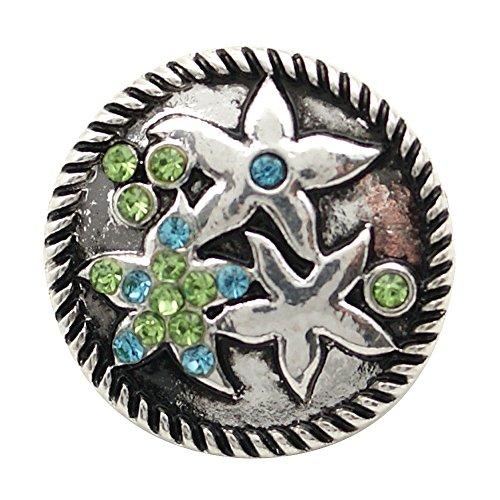 Chunk Snap Charm Starfish Blue and Green Crystals 20mm
